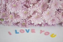 Lettres décoratives formant le ` de ` de mots je t'aime Image libre de droits
