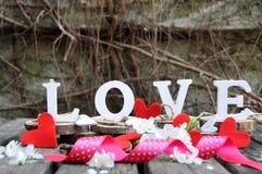 Lettres définissant l'amour de mot Photographie stock