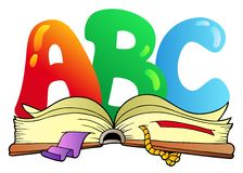 Lettres d'ABC de dessin animé avec le livre ouvert Photo libre de droits