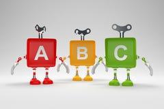Lettres d'alphabet d'ABC sur les cubes colorés en jouet Images stock