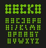 Lettres d'alphabet, cercles reliés, gycon de couleur verte ou pieds de lézard Ensemble peu commun de lettre de vecteur, police ab illustration libre de droits