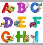 Lettres d'alphabet de bande dessinée d'éducation pour des enfants illustration libre de droits