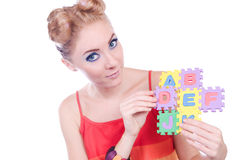 Lettres d'alphabet de fixation de femme Images stock