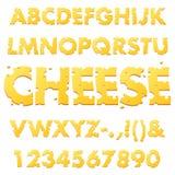 Lettres d'alphabet de fromage illustration stock