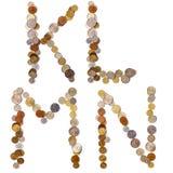 Lettres d'alphabet de K-L-M-N des pièces de monnaie Photographie stock