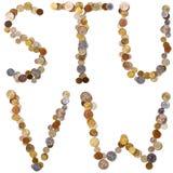 Lettres d'alphabet de S-T-U-V-W des pièces de monnaie Images stock