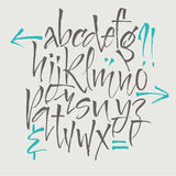Lettres d'alphabet : minuscule, majuscule, nombres Alphabet de vecteur Lettres tirées par la main Lettres de l'alphabet écrit ave Images stock