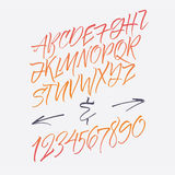 Lettres d'alphabet : minuscule, majuscule, nombres Alphabet de vecteur Lettres tirées par la main Lettres de l'alphabet écrit ave Photo stock