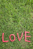 Lettres d'amour au-dessus de l'herbe Photo libre de droits