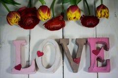 Lettres d'amour avec des fleurs pour valentinsday Photographie stock
