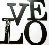 Lettres d'amour brouillées en bois de plan rapproché Photos libres de droits