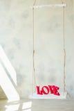 Lettres d'amour en bois Photos stock