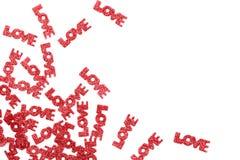 Lettres d'amour rouges de scintillement Image stock