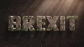 Lettres d'animation de Brexit qui vieillissent rapidement et où la mousse et l'herbe se développe, ajournement, concept de retard banque de vidéos