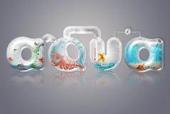 Lettres d'Aqua et en verre Photographie stock