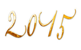 2015, lettres d'or brillantes élégantes en métal 3D Photo stock