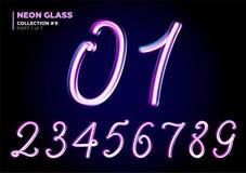 lettres 3D en verre avec l'effet de lampe au néon de nuit, pourpre brillant illustration de vecteur