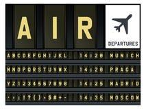 Lettres d'horaire d'aéroport Photo stock