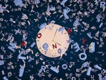 Lettres d'horloge et de fallin Photo stock