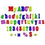 Lettres d'épellation d'alphabet d'aimant de réfrigérateur de vecteur Images libres de droits