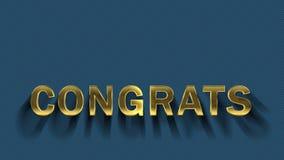 Lettres d'or se rassemblant des particules - Congrats illustration stock
