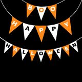 Lettres de Boo Happy Halloween de paquet de drapeaux d'étamine Guirlande de drapeau Élément de décoration de partie Texte accroch illustration de vecteur