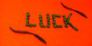 Lettres de chance avec la photo courante de beau fond photographie stock