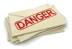 Lettres de danger (chemin de coupure inclus) Images stock