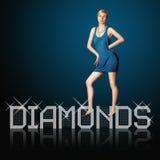 Lettres de diamant et femme blond Images stock