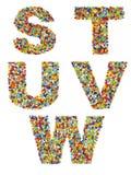 Lettres de l'alphabet S à W faits à partir du bea en verre coloré Photos libres de droits