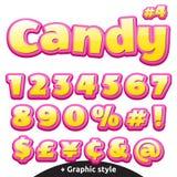 Lettres de la sucrerie des enfants drôles réglées Numéros et symboles Illustration Stock