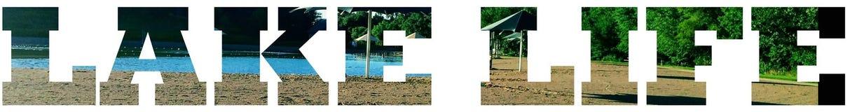 Lettres de la vie de lac et conception ou signe de typographie images stock