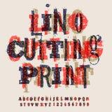 Lettres de Linocut et nombres, alphabet artistique Photo stock