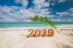 2019 lettres de nombres avec la palmette, l'océan, la plage et le paysage marin Image stock