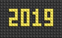 2019 lettres de nouvelle année des briques de construction de lego illustration de vecteur