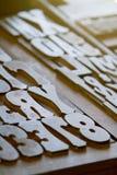 Lettres de presse typographique Photographie stock libre de droits