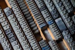 Lettres de presse typographique en métal image libre de droits
