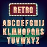 Lettres de vintage Ensemble de rétro alphabet au néon Photo stock