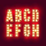 Lettres de vintage Ensemble de rétro alphabet au néon Partie 1 Images libres de droits