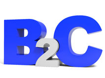 Lettres de volume de B2C sur le fond blanc Photographie stock libre de droits