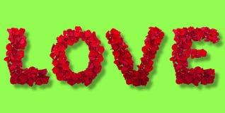 Lettres des pétales de fleur d'amour Photographie stock libre de droits