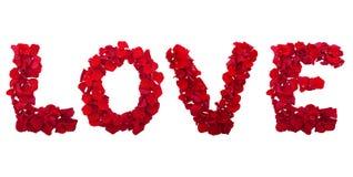 Lettres des pétales de fleur d'amour Photo libre de droits