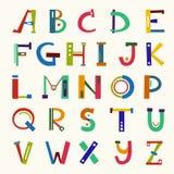 Lettres drôles colorées d'ABC Illustration tirée par la main de vecteur Image stock