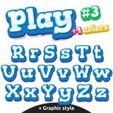 Lettres drôles de jeu vidéo de vecteur réglées Majuscule et minuscule latins Illustration de Vecteur