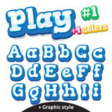 Lettres drôles de jeu vidéo de vecteur réglées Majuscule et minuscule latins Illustration Libre de Droits