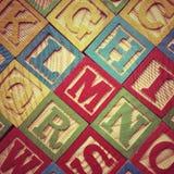 Lettres en bois d'alphabet Photo stock