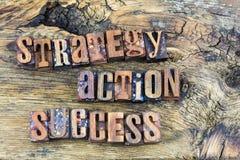 Lettres en bois de succès d'action de stratégie Image libre de droits