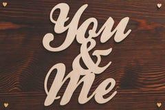 Lettres en bois de You&me Photo stock