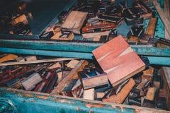 Lettres en bois, presse typographique de vintage Images libres de droits