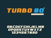 Lettres et nombre majuscules latins d'alphabet de vecteur Rétro fonte illustration libre de droits